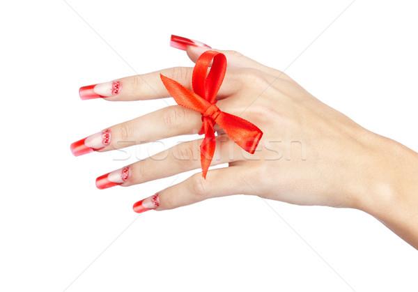 Akril körmök manikűr kéz piros francia Stock fotó © zastavkin