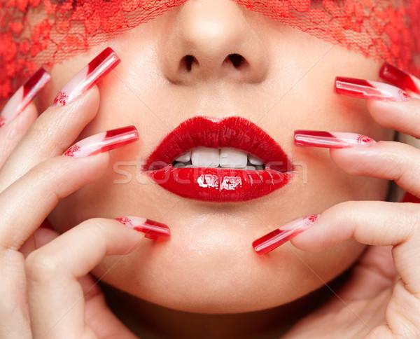 Stockfoto: Acryl · nagels · manicure · vrouw · gezicht