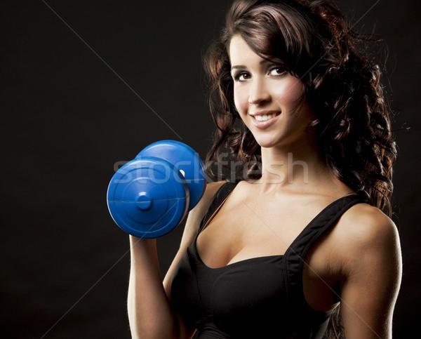 Фитнес-женщины фитнес модель брюнетка весов Сток-фото © zdenkam