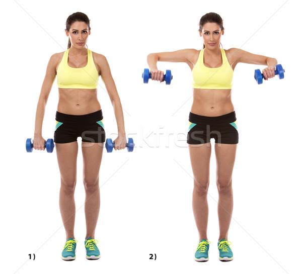 Kar testmozgás fitnessz modell fehér nő Stock fotó © zdenkam