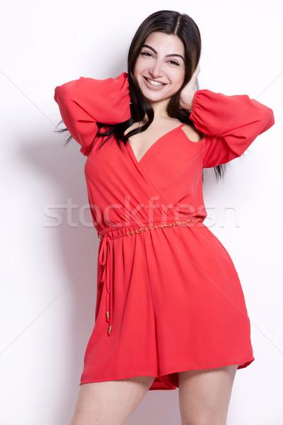 Bastante mulher jovem morena cabelos longos branco Foto stock © zdenkam