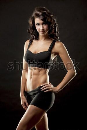 Фитнес-женщины фитнес модель брюнетка талия Сток-фото © zdenkam
