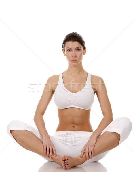 Fitnessz nő csinos barna hajú visel aktív visel Stock fotó © zdenkam