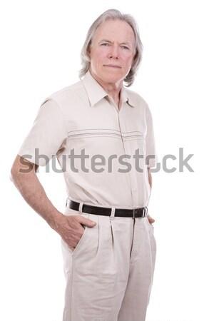 Lezser férfi fehér idős kaukázusi pózol Stock fotó © zdenkam