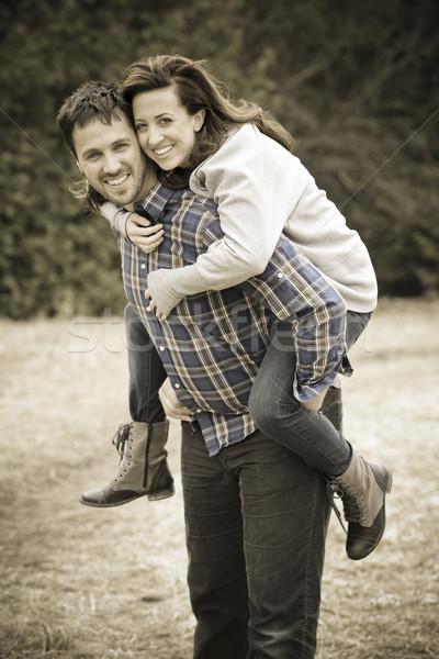 Casual casal menina sorrir Foto stock © zdenkam