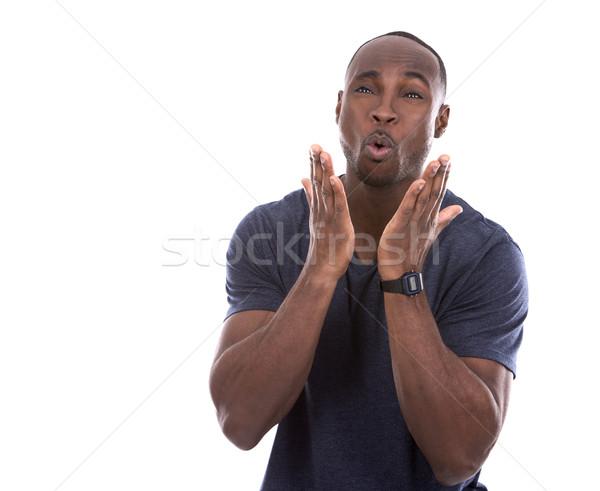 Yakışıklı siyah adam genç gündelik mavi Stok fotoğraf © zdenkam