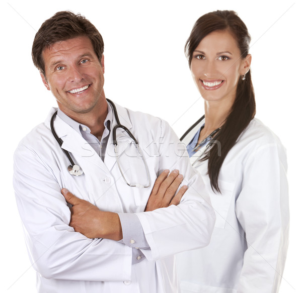 Boldog orvosok mosolyog fehér izolált orvos Stock fotó © zdenkam