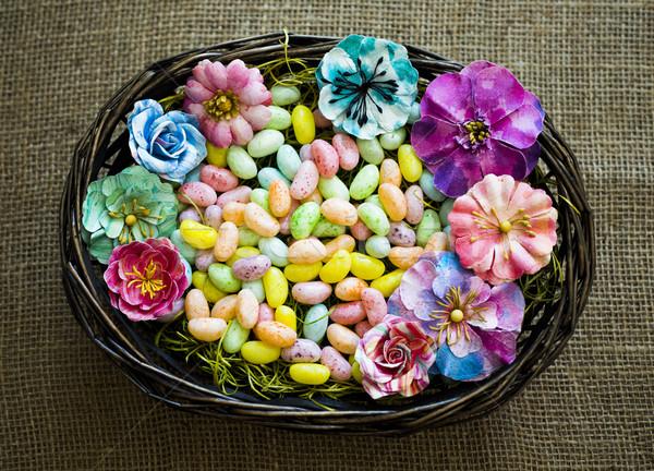 весны пасхальных яиц цветы мешок текстуры Сток-фото © zdenkam