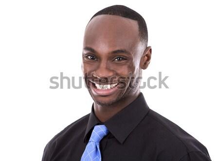 Jóképű fekete üzletember fiatal üzletember pózol Stock fotó © zdenkam