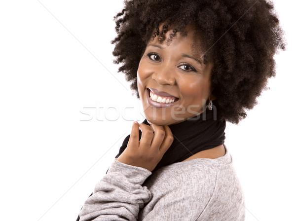 Siyah gündelik kadın beyaz güzel siyah kadın Stok fotoğraf © zdenkam