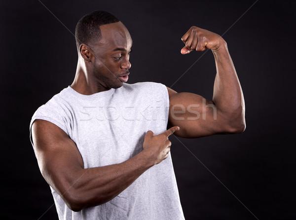 Fitness homem escuro jovem homem negro Foto stock © zdenkam