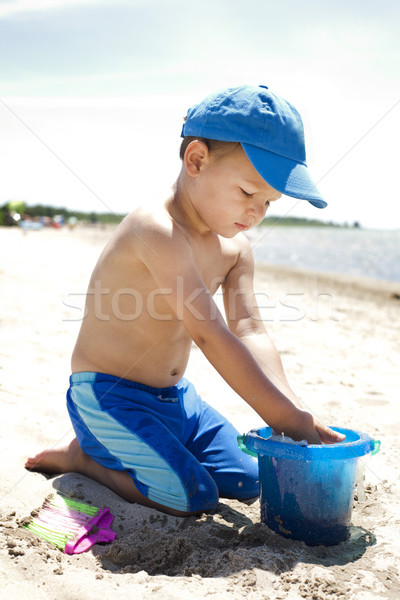 Сток-фото: пляж · мальчика · играет · песок · природы