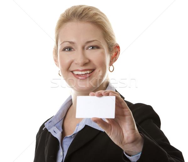 üzletasszony 40-es évek tart névjegy nő kéz Stock fotó © zdenkam
