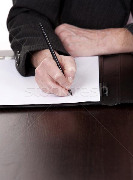 деловой женщины сидят за столе Дать Сток-фото © zdenkam