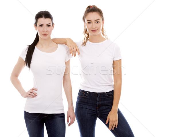 Twee vrouwelijke vrienden witte jonge toevallig Stockfoto © zdenkam