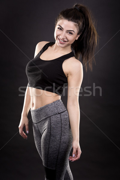 Fiatal fitnessz nő csinos barna hajú visel fitnessz Stock fotó © zdenkam