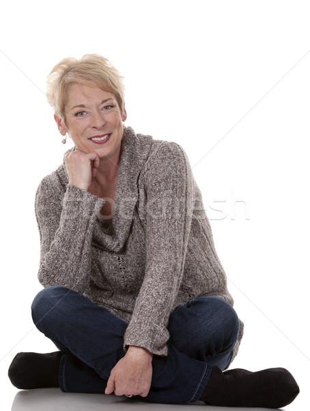 Lezser nő szőke ötvenes évek fehér izolált Stock fotó © zdenkam