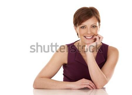 Stockfoto: Zakenvrouw · werken · laptop · vergadering · beneden · witte