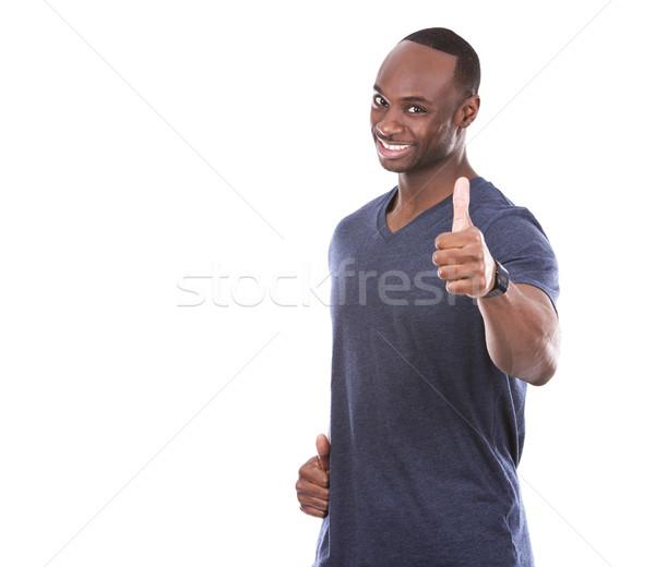 Yakışıklı siyah adam genç heyecanlı gündelik Stok fotoğraf © zdenkam
