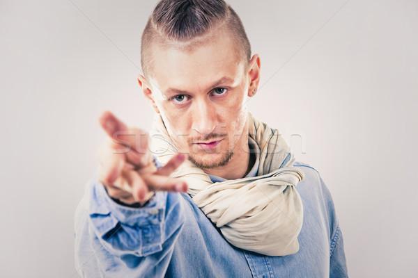 Erkek çağdaş hip hop dansçı kot kafkas Stok fotoğraf © zdenkam