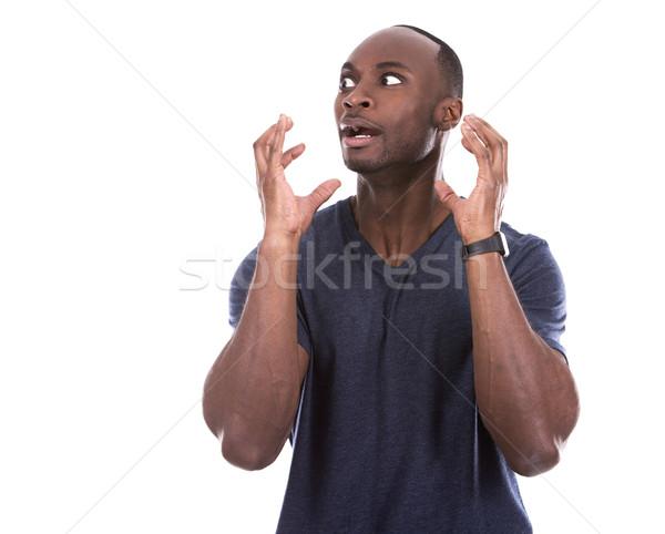 Yakışıklı siyah adam korkmuş genç gündelik beyaz Stok fotoğraf © zdenkam