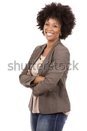 black casual woman on white background Stock photo © zdenkam