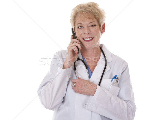 Stock photo: female doctor on the phone
