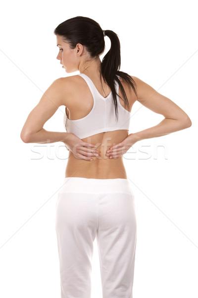 Sırt ağrısı güzel esmer ağrı geri kız Stok fotoğraf © zdenkam