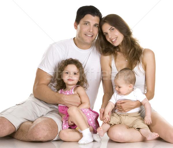 Famille quatre blanche femme enfants Photo stock © zdenkam