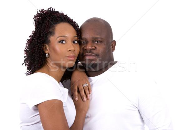 Fekete lezser pár szép pózol fehér Stock fotó © zdenkam