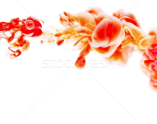 Piros narancs absztrakt művészet tinta fehér Stock fotó © zdenkam