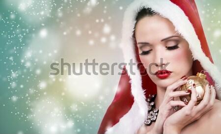Valentin nap nő előkelő visel arany ékszerek Stock fotó © zdenkam