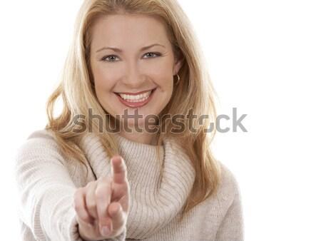 Casual mulher bastante loiro bege Foto stock © zdenkam