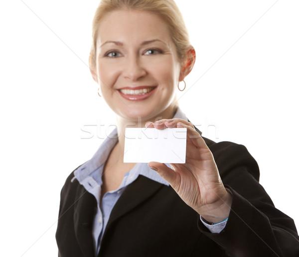 Femme d'affaires 40s carte de visite femme main Photo stock © zdenkam