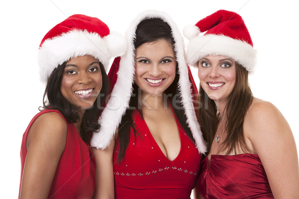Csoport karácsony nők gyönyörű három tart Stock fotó © zdenkam