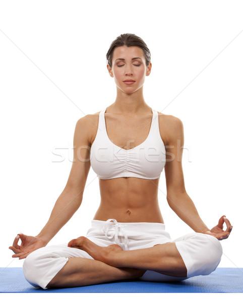 женщину йога довольно брюнетка белый Сток-фото © zdenkam
