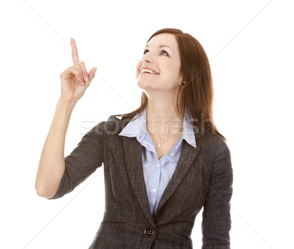 деловой женщины указывая красивой брюнетка стороны белый Сток-фото © zdenkam