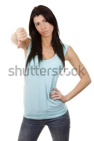 woman giving thumb down Stock photo © zdenkam