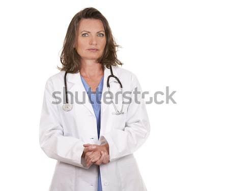 Rossz hírek orvos női fehér izolált nő Stock fotó © zdenkam