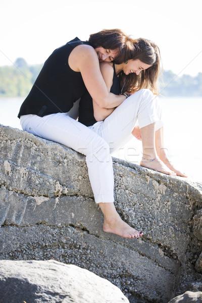 Mãe filha caucasiano juntos parque primavera Foto stock © zdenkam