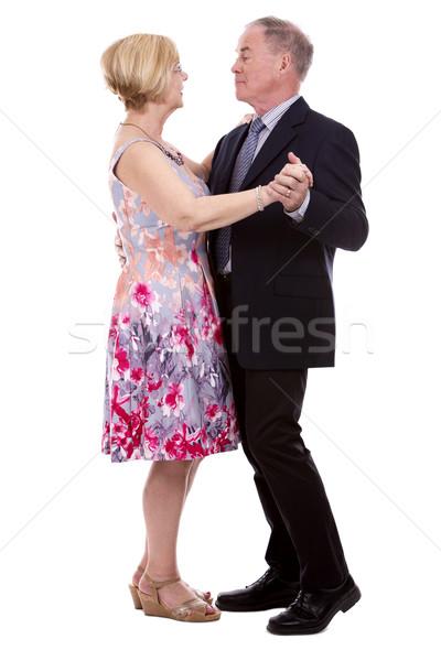 Előkelő kaukázusi pár nyugdíjas felfelé fehér Stock fotó © zdenkam