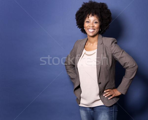 черный случайный женщину синий красивой черную женщину Сток-фото © zdenkam