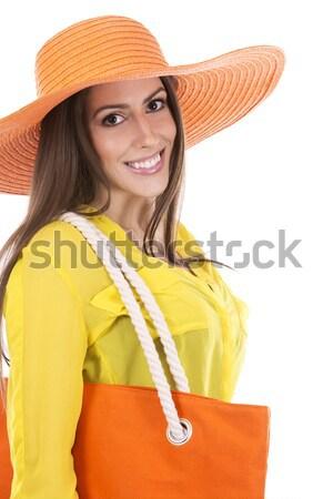 Kadın plaj kıyafeti güzel esmer yaz Stok fotoğraf © zdenkam
