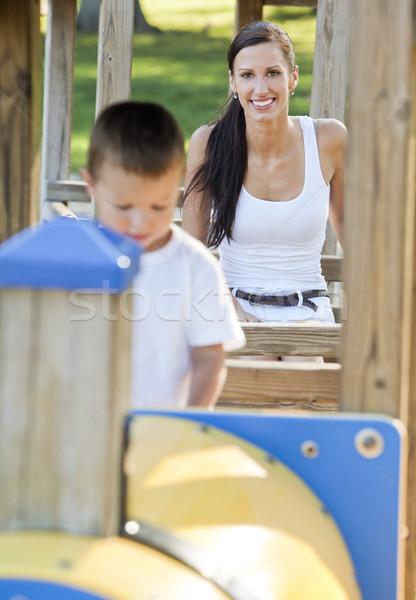 Mãe filho jovem jogar parque família Foto stock © zdenkam