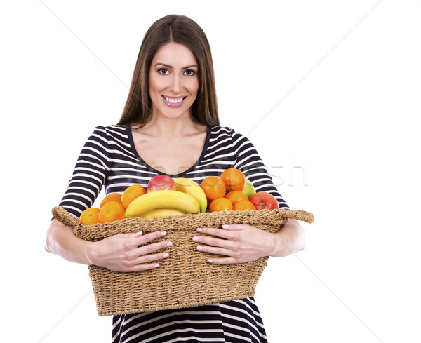 Nő tart gyümölcsök fiatal kaukázusi gyümölcs Stock fotó © zdenkam