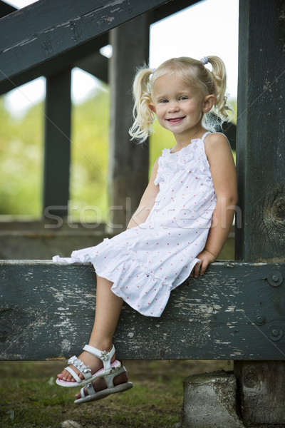 портрет девочку парка кавказский девушки улыбаясь Сток-фото © zdenkam