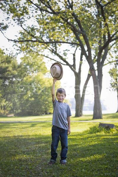Portré kicsi fiú visel kalap mosolyog Stock fotó © zdenkam