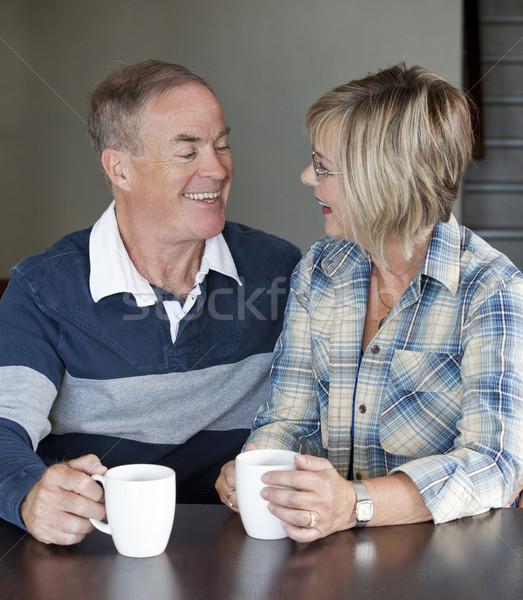 Maturité couple ensemble heureux couple de personnes âgées café Photo stock © zdenkam