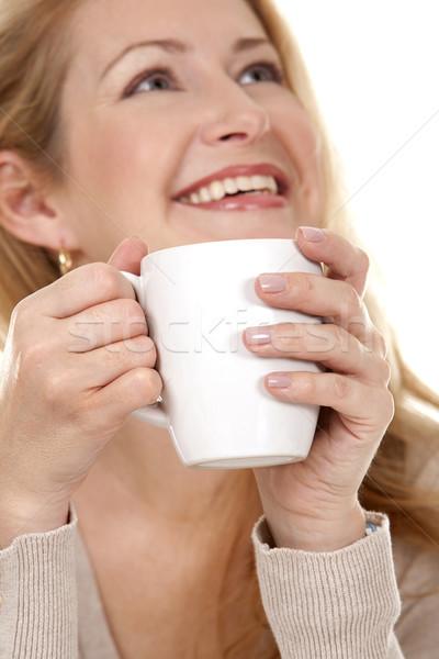 Nő kávé csinos szőke visel bézs Stock fotó © zdenkam