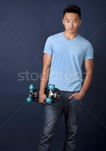 Stockfoto: Man · skateboard · toevallig · Blauw · tshirt
